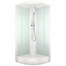 Душевая кабина Domani-Spa Delight (100x100 см) белые стенки, матовые стекла.