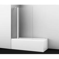 Стеклянная шторка на ванну Berkel 48P02-110 распашная, двухстворчатая, 1100*1400 мм