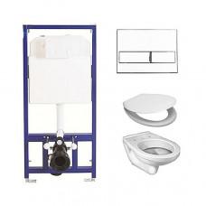 Комплект BERGES для монтажа подвесного унитаза OPTIM PS: инсталляция,кнопка L1 белая, унитаз с сидением