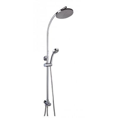 """""""Смарт-Прайм"""" душевая система, комплект: штанга, ручн.перек., 3-функц. душ. лейка, лейка верхнего душа d 200 мм, шланг"""
