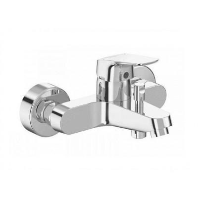 CERAFLEX Настенный однорукоятковый смеситель для ванны/душа, монтаж на стандартных эксцентриках (в комплекте: эксцентрики, металлические отражатели, уплотнительные прокладки), литой излив, аэратор Perlator, керамический картридж IS 40 мм, с функцией HWTC