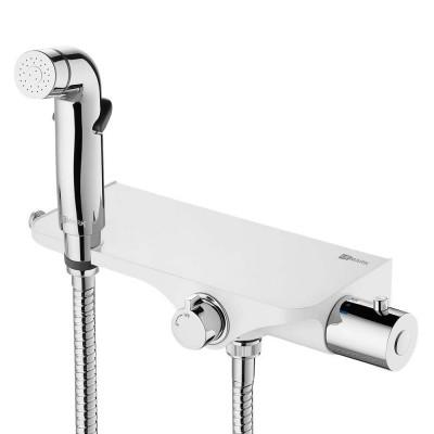 """""""Соло"""" Смеситель настенный термостатический, с гигиеническим душем, хром/белый"""