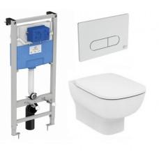 Сет Esedra AquaBlade® Подвесной унитаз с сиденьем микролифт, инсталляцией и кнопкой