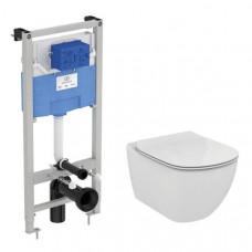 Сет Ideal Standard Tesi унитаз подвесной с сиденьем микролифт и инсталляцией