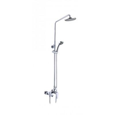"""""""Смарт-Инлайн"""" душевая система со смесителем ванна/душ, комплект: штанга, ручн.перек., 3-функц. душ. лейка, лейка верхнего душа d 200 мм, шланг"""