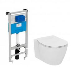Сет Ideal Standard Connect унитаз подвесной с сиденьем микролифт, инсталляцией