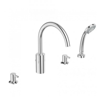 CERALINE Набортный смеситель для ванны/душа под 4 отверстия, система облегченного монтажа, трубчатый