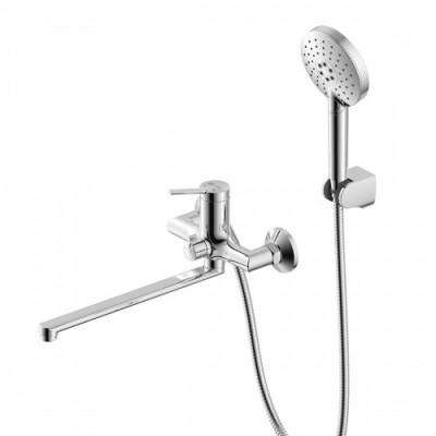 """""""Минима"""" Смеситель для ванны, поворотный излив 350мм, керамический переключатель, душевой набор"""