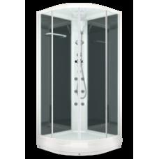 Душевая кабина Domani-Spa Delight (100х100 см) с блоком управления и гидромассажем. черные стенки, матовые стекла